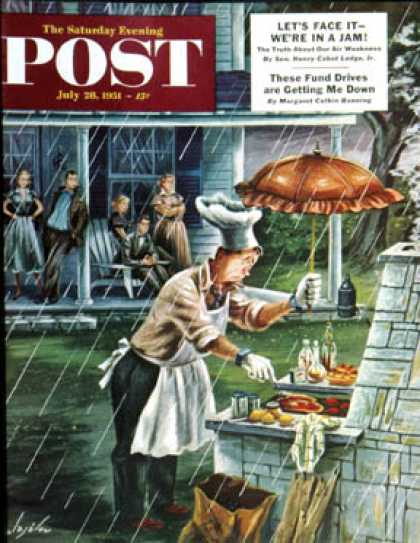 Saturday Evening Post - 1951-07-28: Rainy Barbecue (Constantin Alajalov)