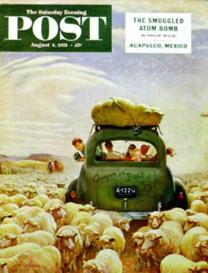 Saturday Evening Post - 1951-08-04: Oregon or Bust (John Clymer)