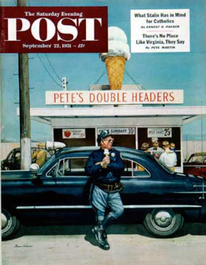 Saturday Evening Post - 1951-09-22: Pete's Double Headers (Stevan Dohanos)
