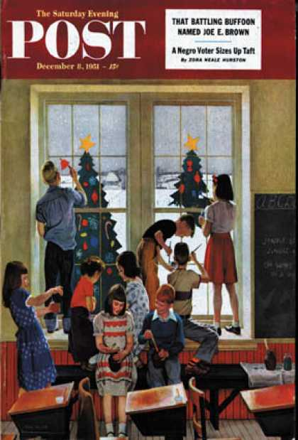 Saturday Evening Post - 1951-12-08: Classroom Christmas (John Falter)