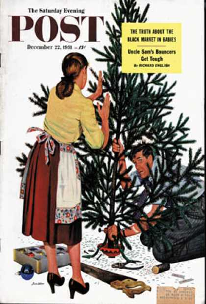 Saturday Evening Post - 1951-12-22: Centering the Christmas Tree (Stevan Dohanos)