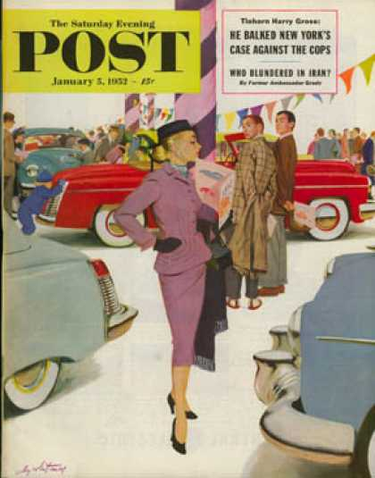 Saturday Evening Post - 1952-01-05: Woman in Showroom (M. Coburn Whitmore)