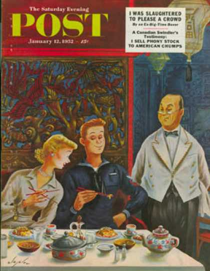 Saturday Evening Post - 1952-01-12: How to Use Chopsticks (Constantin Alajalov)