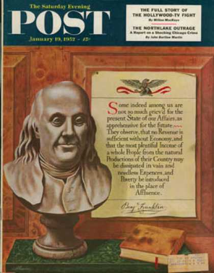 Saturday Evening Post - 1952-01-19: Benjamin Franklin - bust and quote (John Atherton)