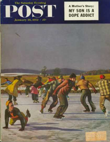 Saturday Evening Post - 1952-01-26: Ice Skating on Pond (John Falter)