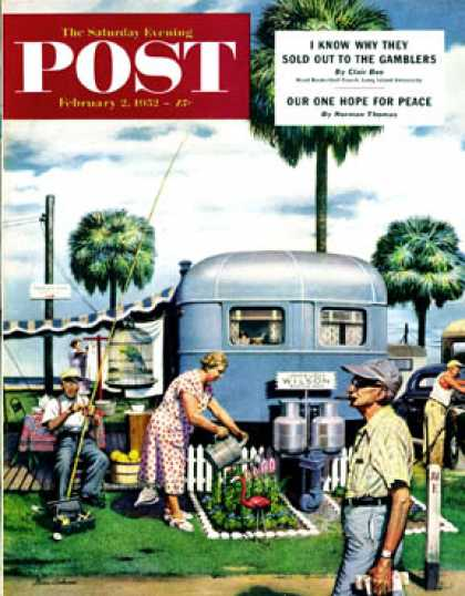 Saturday Evening Post - 1952-02-02: Trailer Park Garden (Stevan Dohanos)