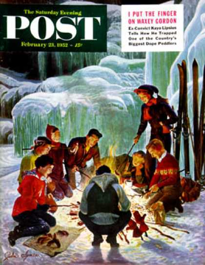 Saturday Evening Post - 1952-02-23: Apres Ski Bonfire (John Clymer)
