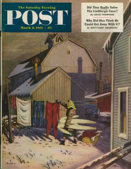 Saturday Evening Post - 1952-03-08: Frozen Laundry (Stevan Dohanos)
