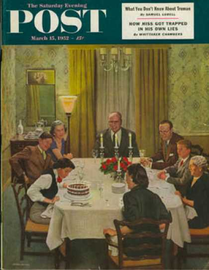 Saturday Evening Post - 1952-03-15: Family Birthday Party (John Falter)