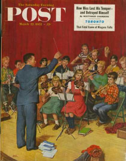 Saturday Evening Post - 1952-03-22: School Orchestra (Amos Sewell)