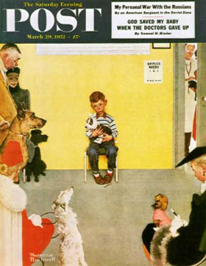 "Saturday Evening Post - 1952-03-29: ""At the Vets"" (Norman Rockwell)"