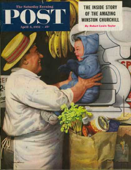 Saturday Evening Post - 1952-04-05: Babies and Bananas (Stevan Dohanos)