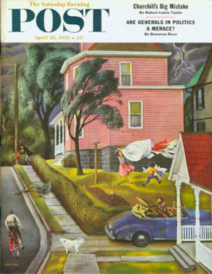Saturday Evening Post - 1952-04-26: Spring Storm Blowing In (John Falter)