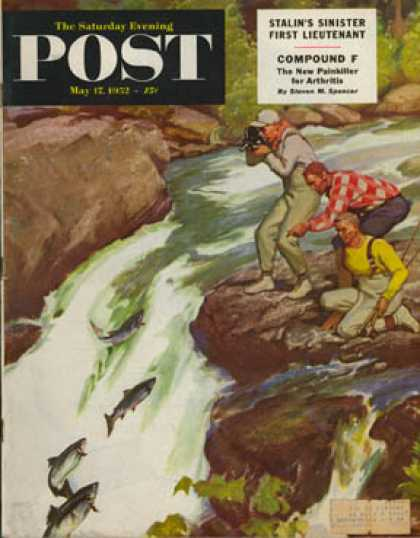 Saturday Evening Post - 1952-05-17: Salmon Running Upstream (Mead Schaeffer)