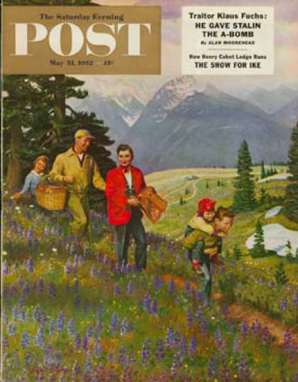 Saturday Evening Post - 1952-05-31: Hiking in Mountains (John Clymer)
