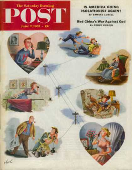Saturday Evening Post - 1952-06-07: Telephone Party Line (Constantin Alajalov)