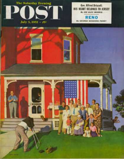 Saturday Evening Post - 1952-07-05: Family Portrait on the Fourth (John Falter)