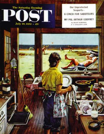 Saturday Evening Post - 1952-07-19: Doing Dishes at the Beach (Stevan Dohanos)