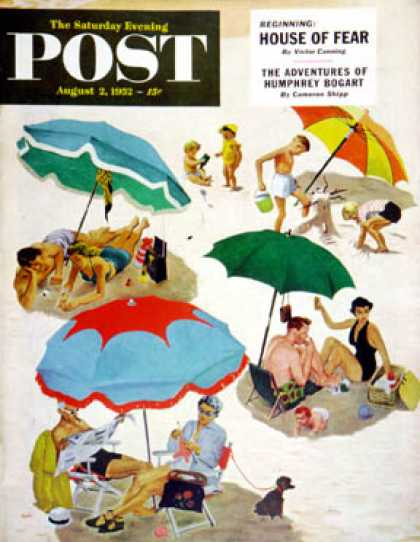 Saturday Evening Post - 1952-08-02: Couples at the beach (George Hughes)