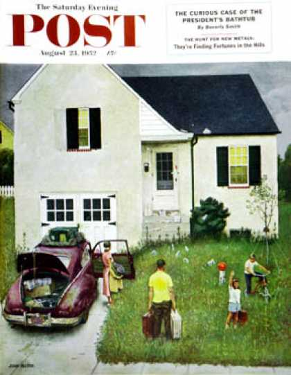 Saturday Evening Post - 1952-08-23: Home from Vacation (John Falter)