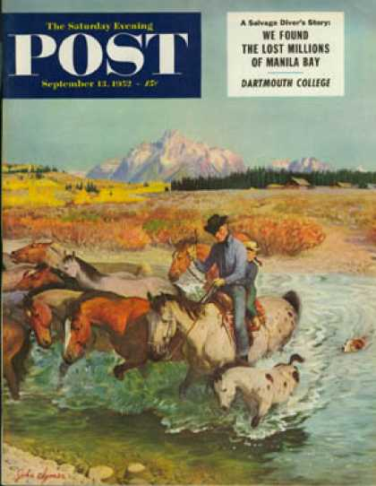 Saturday Evening Post - 1952-09-13: Herding Horses (John Clymer)