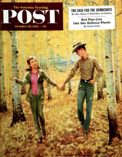 Saturday Evening Post - 1952-10-18: Walk in the Forest (John Clymer)
