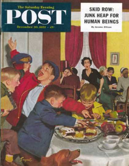 Saturday Evening Post - 1952-12-20: Crashing Mom's Card Party (Richard Sargent)