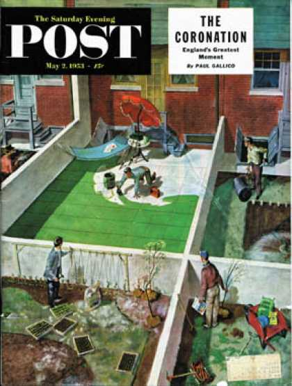 Saturday Evening Post - 1953-05-02: Painting the Patio Green (Thornton Utz)