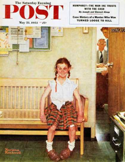 "Saturday Evening Post - 1953-05-23: ""Shiner"" or ""Outside the   Principal's Office"" (Norman Rockwell)"