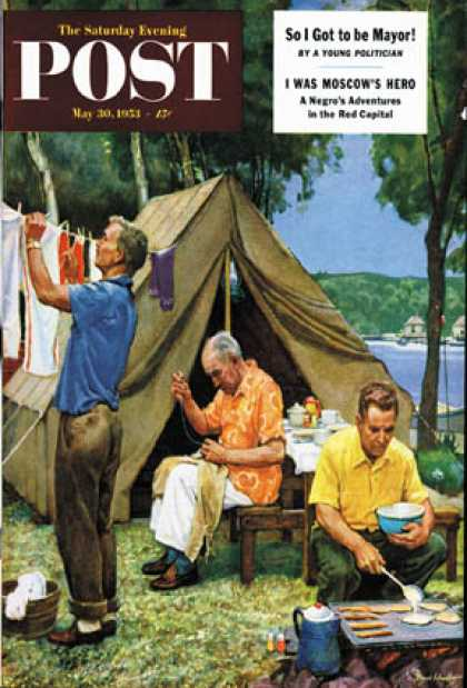 Saturday Evening Post - 1953-05-30: Three Generations Camping (Mead Schaeffer)