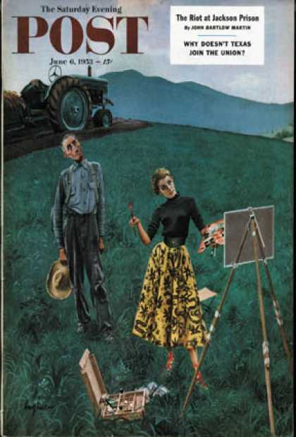 Saturday Evening Post - 1953-06-06: Farmer and Female Artist in Field (George Hughes)