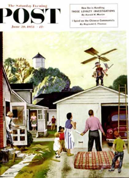 Saturday Evening Post - 1953-06-20: Learning to Fly (John Falter)