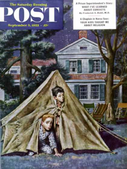 Saturday Evening Post - 1953-09-05: Backyard Campers (Amos Sewell)