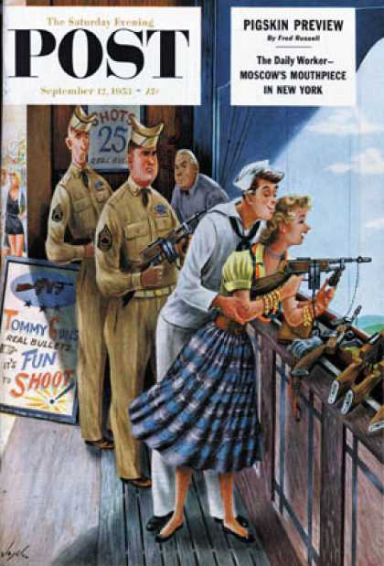 Saturday Evening Post - 1953-09-12: Shooting Gallery (Constantin Alajalov)