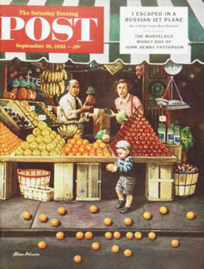 Saturday Evening Post - 1953-09-19: Towddler and Oranges (Stevan Dohanos)