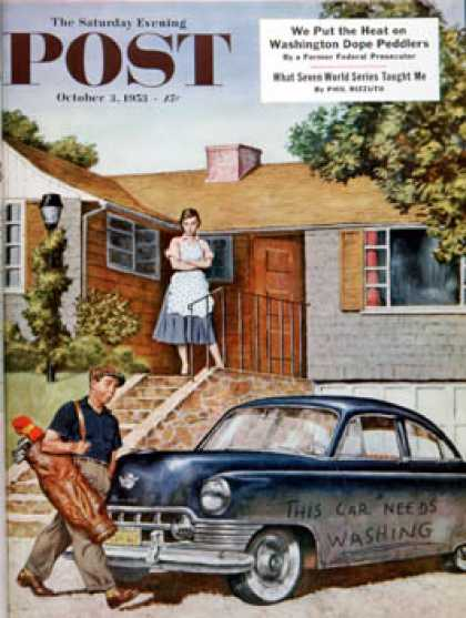 Saturday Evening Post - 1953-10-03: This Car Needs Washing (Amos Sewell)