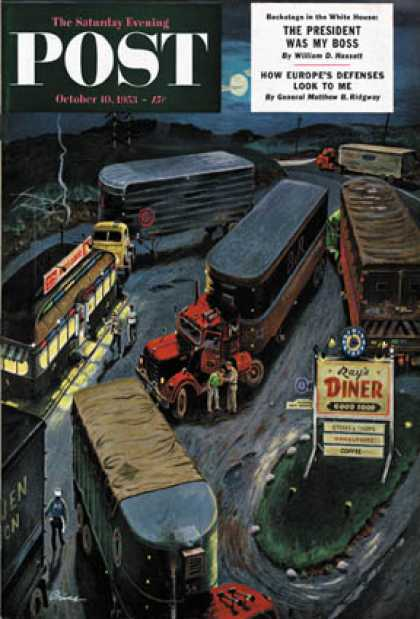 Saturday Evening Post - 1953-10-10: Truck Stop Diner (Ben Kimberly Prins)