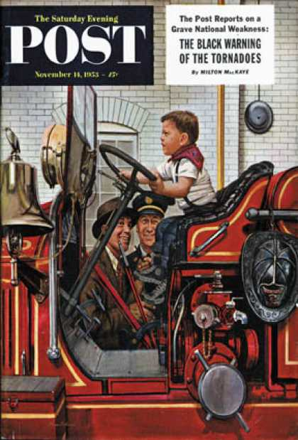 Saturday Evening Post - 1953-11-14: Boy on Fire Truck (Stevan Dohanos)