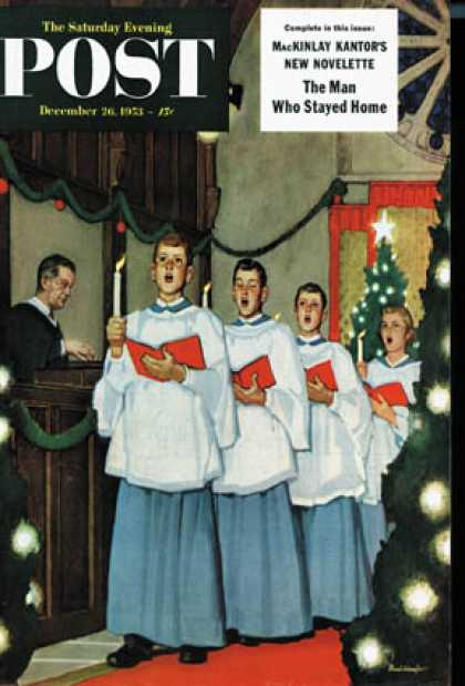 Saturday Evening Post - 1953-12-26: Boys Christmas Choir (Mead Schaeffer)