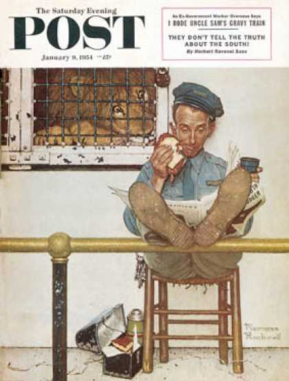 "Saturday Evening Post - 1954-01-09: ""Lion and His Keeper"" (Norman Rockwell)"