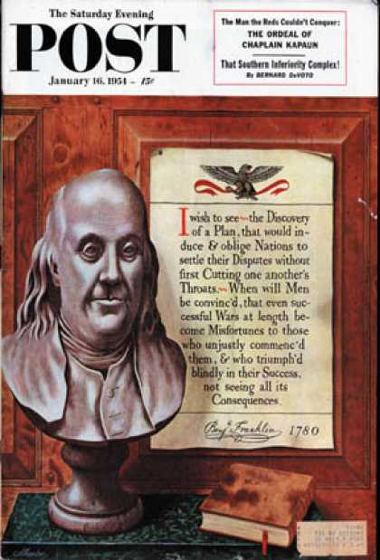 Saturday Evening Post - 1954-01-16: Benjamin Franklin - bust and quote (John Atherton)