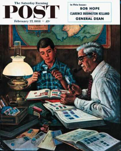 Saturday Evening Post - 1954-02-27: Stamp Collecting (Stevan Dohanos)