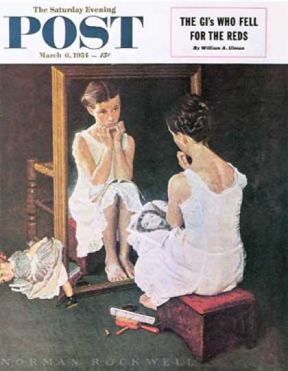 "Saturday Evening Post - 1954-03-06: ""Girl at the Mirror"" (Norman Rockwell)"