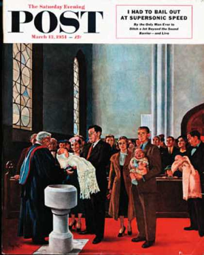 Saturday Evening Post - 1954-03-13: Christening or Baptism (George Hughes)