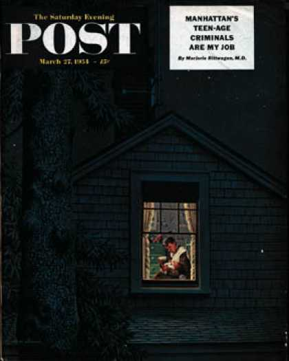 Saturday Evening Post - 1954-03-27: 2:00 Feeding (Stevan Dohanos)