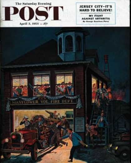 Saturday Evening Post - 1954-04-03: Fireman's Ball (Ben Kimberly Prins)
