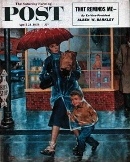 Saturday Evening Post - 1954-04-24: Leaving Grocery in Rain (Amos Sewell)