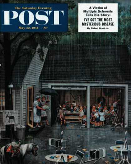 Saturday Evening Post - 1954-05-22: Rain-out Birthday Party (Stevan Dohanos)