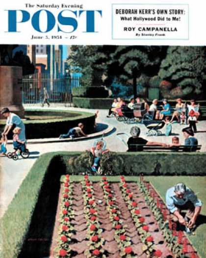Saturday Evening Post - 1954-06-05: City Park (John Falter)