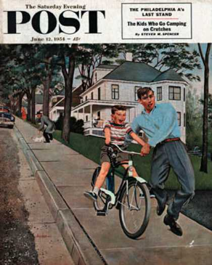Saturday Evening Post - 1954-06-12: Bike Riding Lesson (George Hughes)